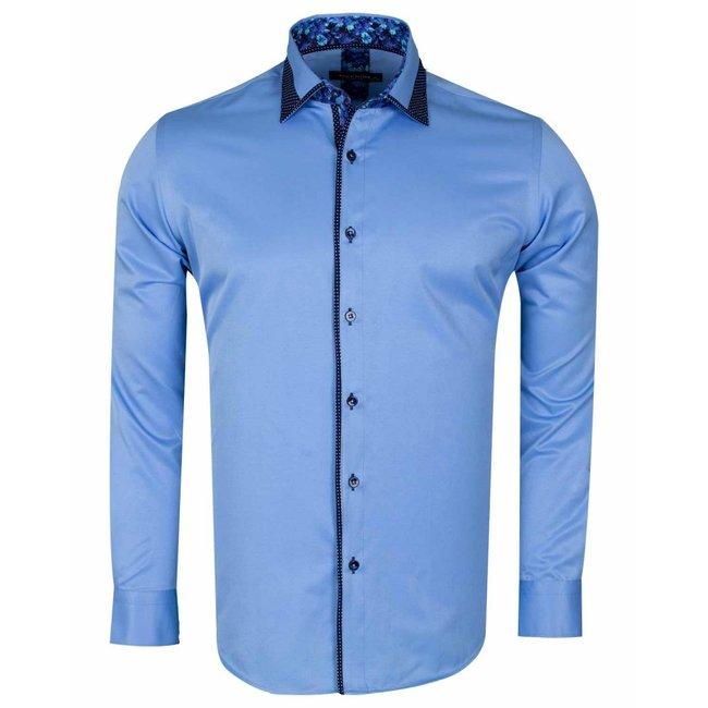 Long Sleeved Plain Shirt with Black Details SL 6361 BLUE M