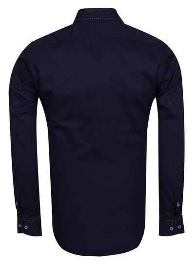 Long Sleeved Mens Shirt With Collar Contrast SL 6556 DARK BLUE 3XL