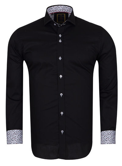 Long Sleeved Mens Shirt With Collar Contrast SL 6556 BLACK S
