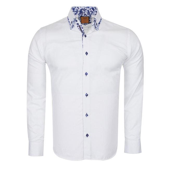 Oscar Banks Double Collar Plain Long Sleeved Shirt SL 6498 WHITE M