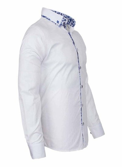 Oscar Banks Double Collar Plain Long Sleeved Shirt SL 6498 WHITE M