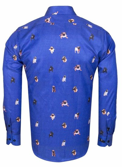 Makrom Blue on Dogs Printed Long Sleeved Shirt SL 6564 SAX 3XL