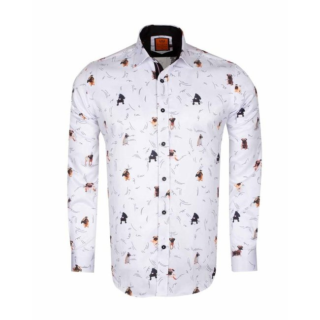 Dogs Printed Long Sleeved Shirt SL 6566 CREAM S