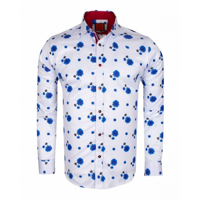 Blue Floral Printed Long Sleeved Shirt SL 6578 WHITE 3XL