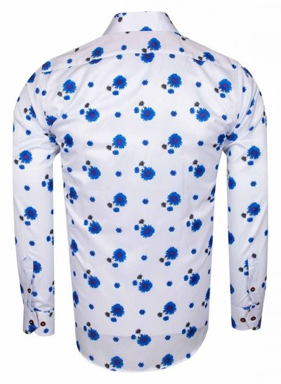 Makrom Blue Floral Printed Long Sleeved Shirt SL 6578 WHITE 3XL