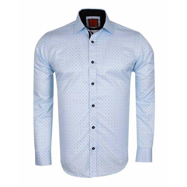 MAKROM Polka Dot Print Long Sleeved Shirt SL 6586 BLUE S