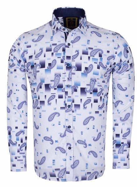 Oscar Banks Paisley Printed Long Sleeved Shirt SL 6385 WHITE S