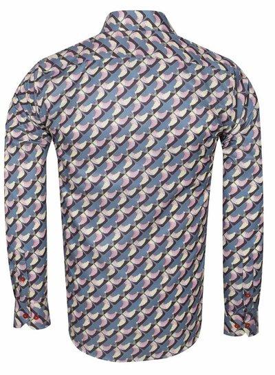 Makrom Dark Gray Printed Long Sleeved Shirt SL 6614 GREY S
