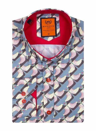 Dark Gray Printed Long Sleeved Shirt SL 6614 GREY S