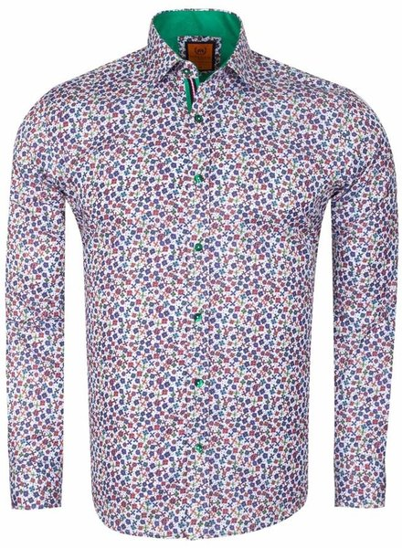 Multicolor Floral Printed Long Sleeved Shirt SL 6611 GREEN S