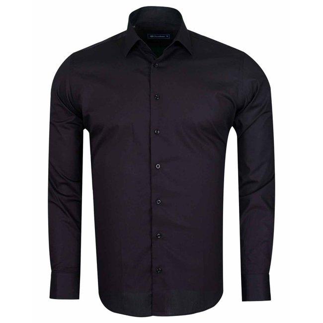 Oscar Banks Plain Long Sleeved Cotton Dress Shirt SL 6610 BLACK S