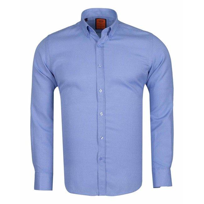 MAKROM Mens Textured Long Sleeved Shirt SL 6617 BLUE S