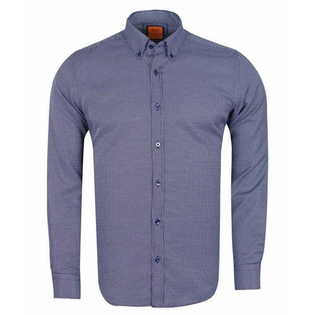 MAKROM Mens Textured Long Sleeved Shirt SL 6617 DARK BLUE S