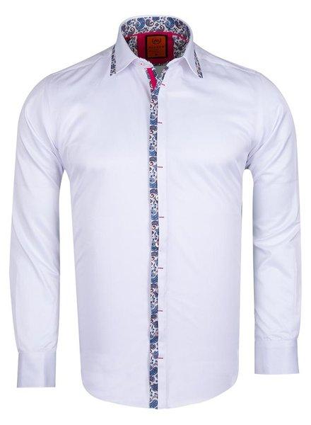 Makrom Plain Long Sleeved Shirt with Paisley Details SL 6367 WHITE XXL