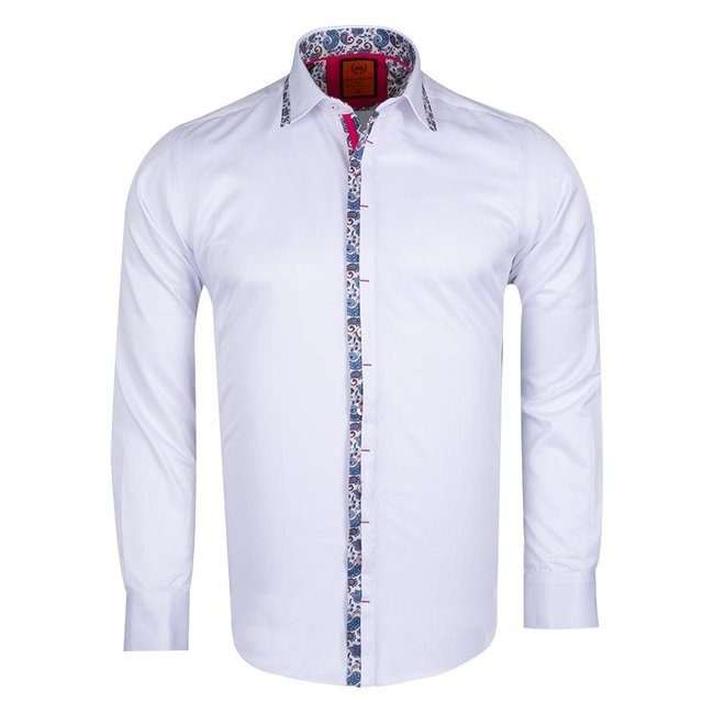 Plain Long Sleeved Shirt with Paisley Details SL 6367 WHITE XXL