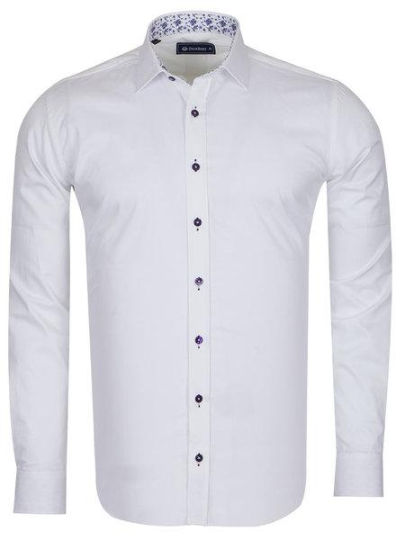 Oscar Banks Plain Shirt With Details SL 6655 WHITE XXL