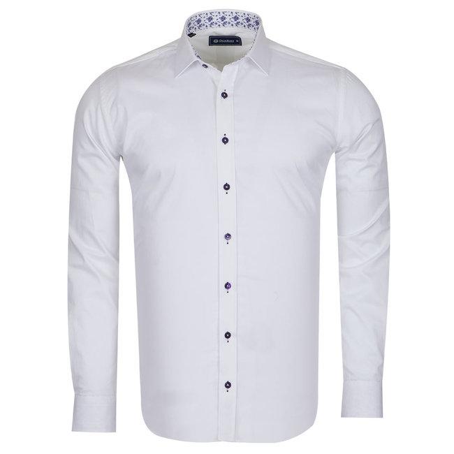 Oscar Banks Plain Shirt With Details SL 6655 WHITE XXL