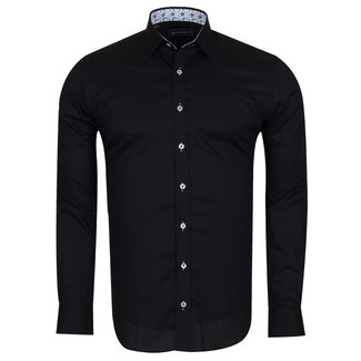 Oscar Banks Plain Shirt With Details SL 6655 BLACK XXL