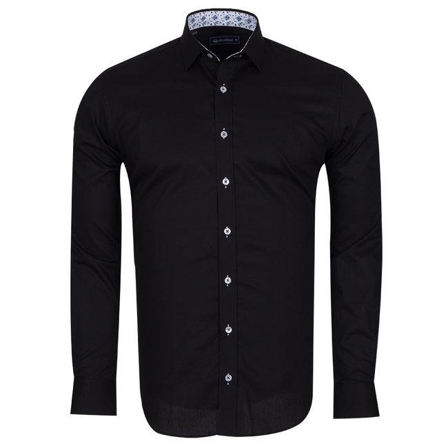 Oscar Banks Plain Shirt With Details SL 6655 BLACK XXL