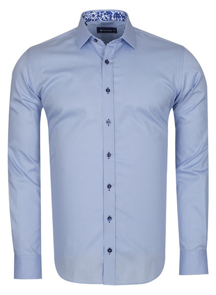 Oscar Banks Plain Shirt With Details SL 6655 BLUE 3XL