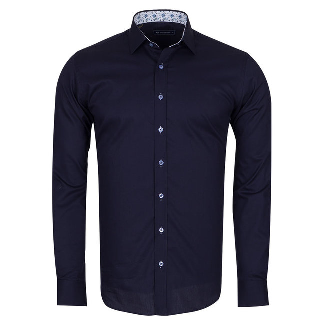 Oscar Banks Plain Shirt With Details SL 6655 DARK BLUE 3XL