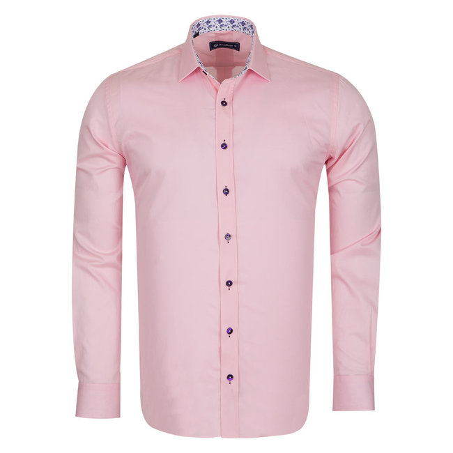 Oscar Banks Plain Shirt With Details SL 6655 PINK 3XL