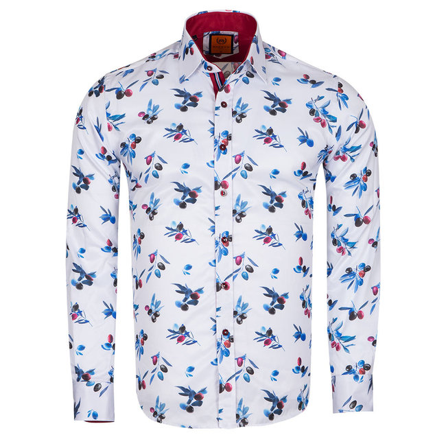 Olives Printed Long Sleeved Shirt SL 6660 RED XXL