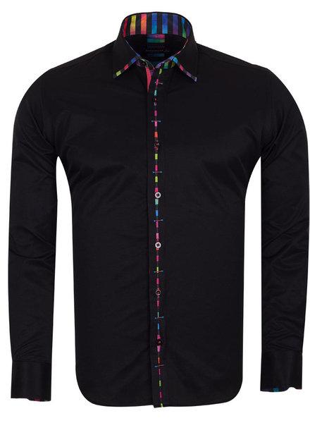 Makrom Plain Shirt With Collar Conrast and Cuff Insert SL 6603 BLACK XXL