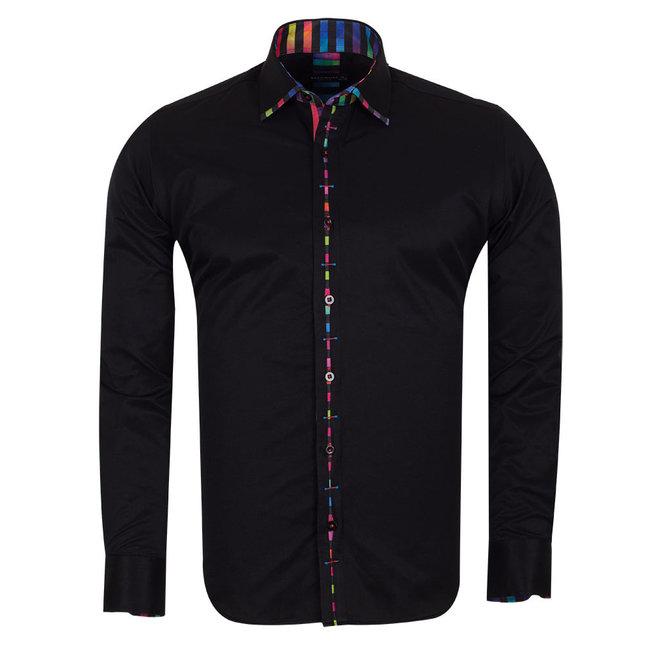 Plain Shirt With Collar Conrast and Cuff Insert SL 6603 BLACK XXL