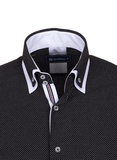 Oscar Banks Double Collar Polka Dot Printed Long Sleeved Shirt SL 6653 WHITE 3XL