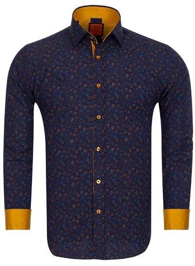 Dark Floral Printed Mens Shirt SL 6682 DARK BLUE 3XL