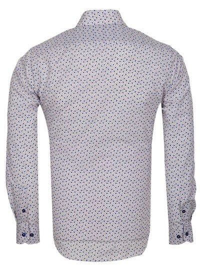 Makrom Blue Flowers Printed Long Sleeved Mens Shirt SL 6685 CREAM 3XL