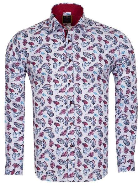 Oscar Banks Leafs Printed Long Sleeved Shirt SL 6693 WHITE 3XL