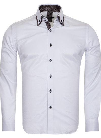 Makrom Double Collar Mens Shirts With Collar Contrast Cuf Insert SL 6652 BROWN L