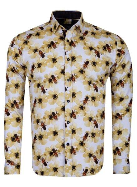 Oscar Banks Bees Printed Long Sleeved Mens Shirt SL 6715 CREAM 3XL