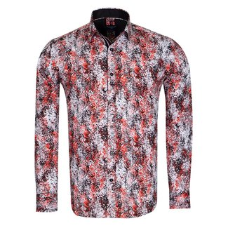 Oscar Banks Paint Printed Long Sleeved Mens Shirt SL 6721 BLACK 3XL