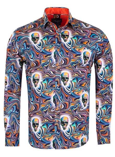 Oscar Banks Multicolors Printed Long Sleeved Mens Shirt SL 6725 DARK BLUE 3XL