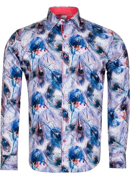 Oscar Banks Blue Stripes Printed Long Sleeved Mens Shirt SL 6726 DARK BLUE 3XL