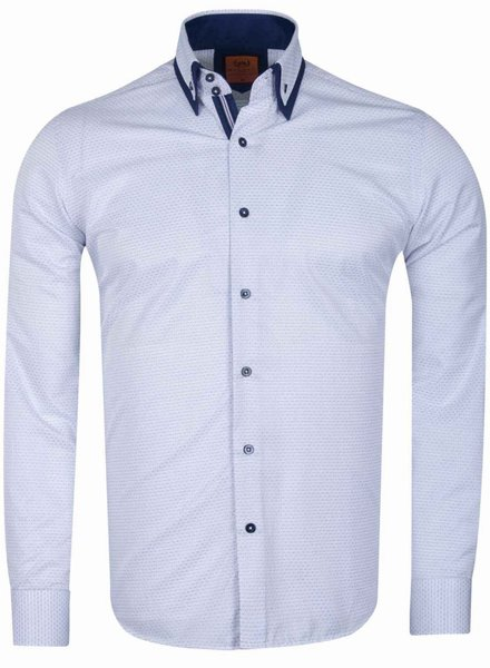 Makrom Double Collar Plain Thin Polka Dots Long Sleeved Shirt SL 6627 WHITE