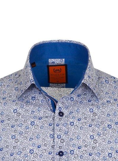 Makrom Long Sleeved Floral Mens Shirt SL 6681 ROYAL BLUE