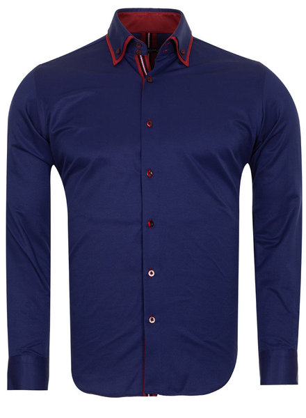 Makrom London Double Collar Long Sleeved Mens Shirt With Details SL 6650 DARK BLUE 3XL - Copy