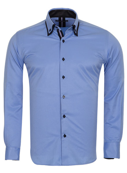 Makrom London Double Collar Long Sleeved Mens Shirt With Details SL 6650 BLUE 3XL - Copy