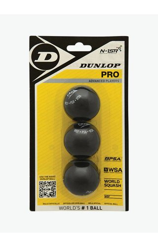 Dunlop Pro Squash Ball (double yellow dot) - 3 Pack