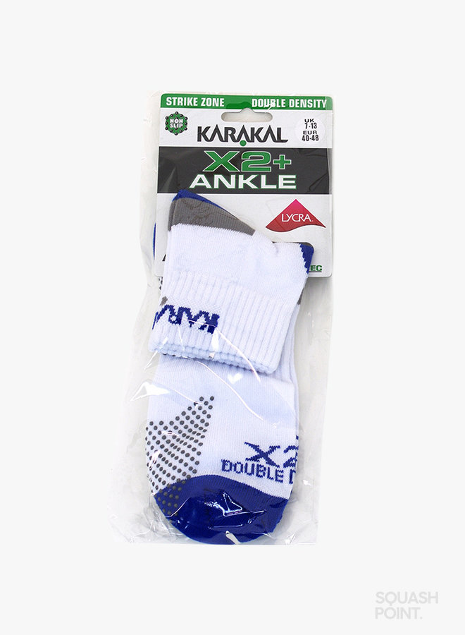 Karakal X2+ Mens Technical Ankle Socks - White /  Blue