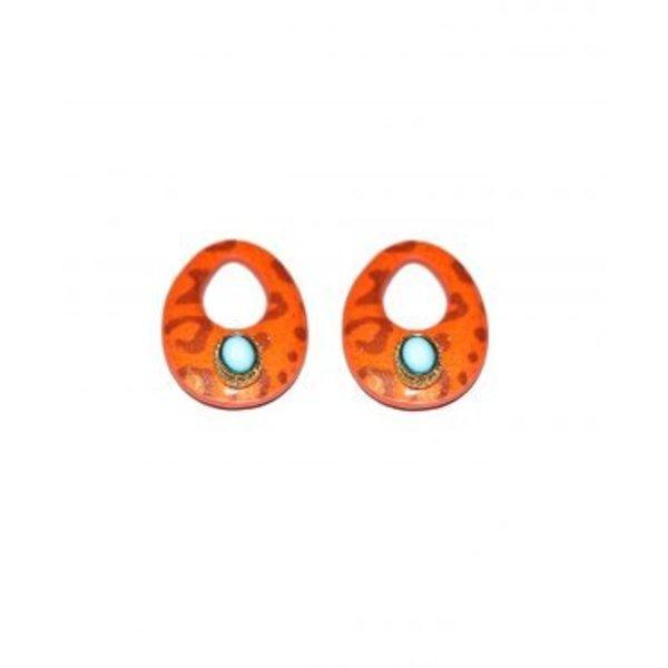 Valerie Orange Leopard Stone Hangers