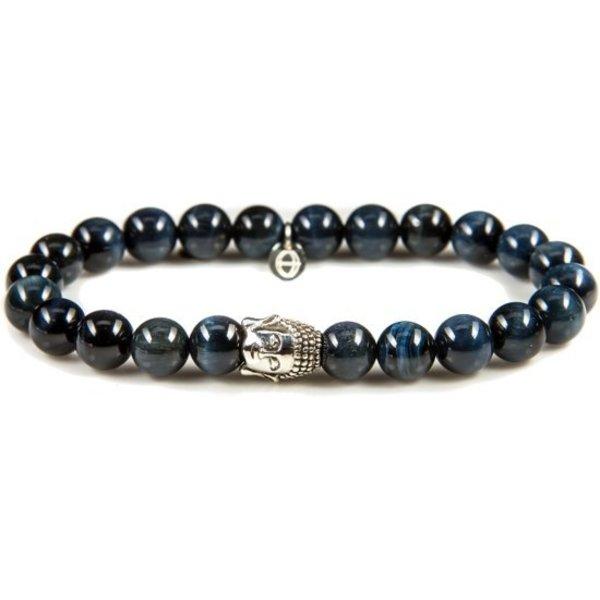 Silver Buddha Blue Tigereye Armband 86110