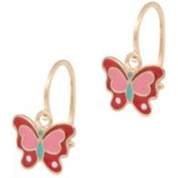Earrings Kids Butterfly Red & Pink