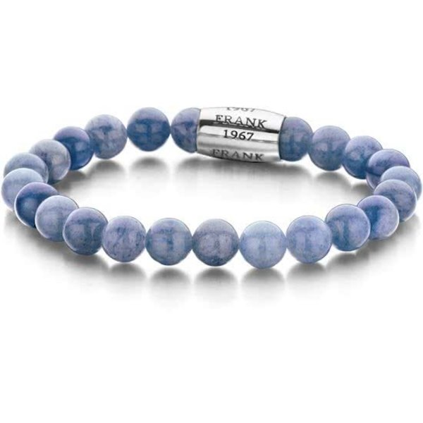 7FB-0054 - Rekbare Natuurstenen Armband - Aventurijn Steen met Stalen element - 8 mm/ 20 cm - Zilverkleurig/ Blauw