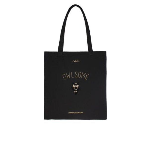 Canvas bag Owl - 001 Black
