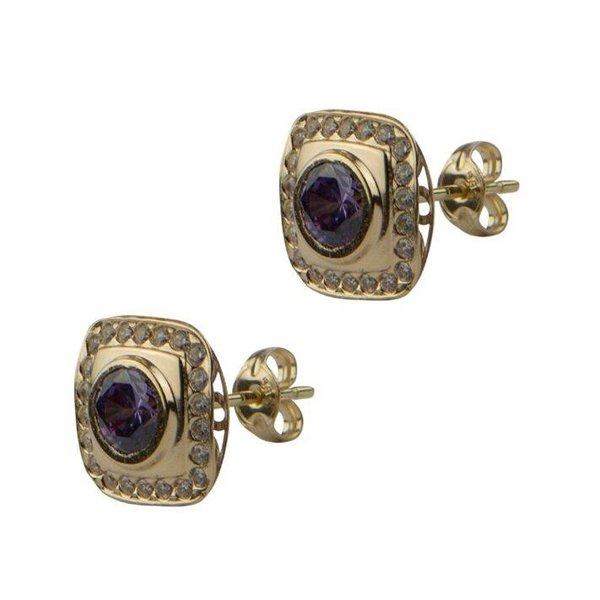 Earrings Square Purple